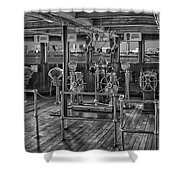 Queen Mary Ocean Liner Bridge 02 Bw Shower Curtain