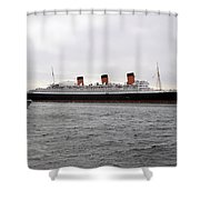 Queen Mary Ocean Liner Full Starboard Side 03 Long Beach Ca Shower Curtain