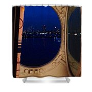 Queen Mary Port Hole Night  Shower Curtain