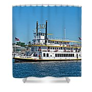 Queen Of Seattle Vintage Paddle Boat Art Prints Shower Curtain