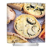 Quiches Pizza And Breads Shower Curtain