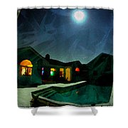 Quiet Night With A Full Moon Shower Curtain