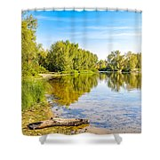 Quiet River With Trees Shower Curtain