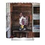 Quiet Rooster Wood Carved Shower Curtain