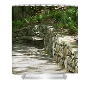 Bench In A Stone Wall Shower Curtain