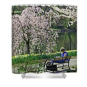 Quiet Time Among The Cherry Blossoms Shower Curtain