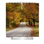 Quiet Vermont Backroad Shower Curtain