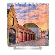 Quiet Village Sunset Shower Curtain