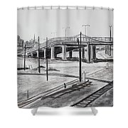 Quiet West Oakland Train Tracks With Overpass And San Francisco  Shower Curtain