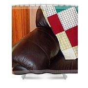 Quilt Beside A Fireplace Shower Curtain