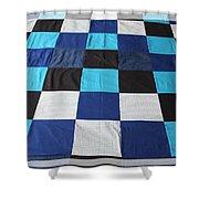 Quilt Blue Blocks Shower Curtain