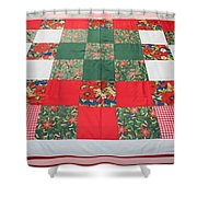 Quilt Christmas Blocks Shower Curtain