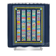 Quilt Painting With Digital Border 2 Shower Curtain