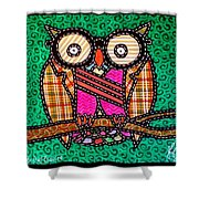 Quilted Mr Owl Esquire Shower Curtain