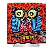 Quilted Professor Owl Shower Curtain