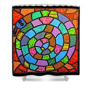 Quilted Spiral Snake Shower Curtain