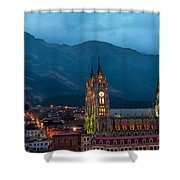 Quito Basilica At Night Shower Curtain