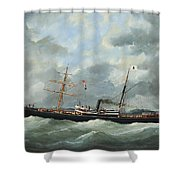 R. Bell And Co.s Steamship Bothal In A Heavy Swell Shower Curtain