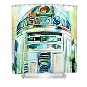 R2-d2 Watercolor Portrait Shower Curtain