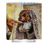 Rabbi Blowing Shofar Shower Curtain