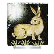Rabbit And The Butterfly . . . From The Tapestry Series Shower Curtain