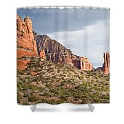 Rabbit Ears Spire At Sunset Shower Curtain
