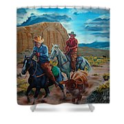Rabbitbrush Round-up Shower Curtain