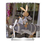 Rabbits Can Fly Shower Curtain
