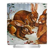 Rabbits In Snow Shower Curtain