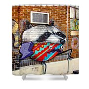 Raccoon On The Wall Shower Curtain