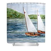Racing On The Lake Shower Curtain