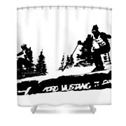 Racing Over The Ski Jump Shower Curtain