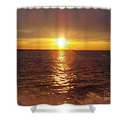 Racing To The Fish Before Sunrise Shower Curtain