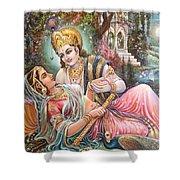 Radha Krishna Oil Canvas Painting Shower Curtain