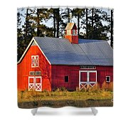 Radiant Red Barn Shower Curtain
