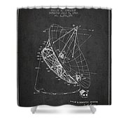 Radio Telescope Patent From 1968 - Charcoal Shower Curtain