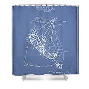 Radio Telescope Patent From 1968 - Light Blue Shower Curtain
