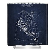 Radio Telescope Patent From 1968 - Navy Blue Shower Curtain