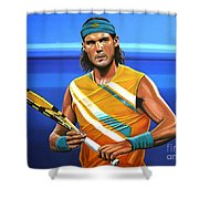 Rafael Nadal Shower Curtain by Paul Meijering