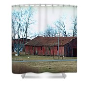 Ragged Red Shed I Shower Curtain
