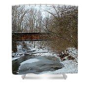 Railroad Bridge In Winter Shower Curtain