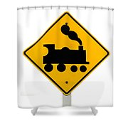 Railroad Crossing Steam Engine Roadsign On White Shower Curtain