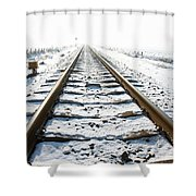 Railroad In Snow Shower Curtain