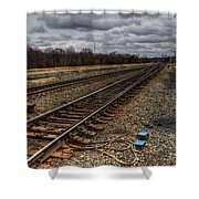 Railroad Interlocking Shower Curtain