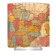 Railroad Map Of The United States 1852 Shower Curtain