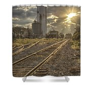 Railroad Sunrise Shower Curtain