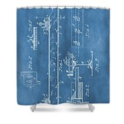 Railroad Tie Patent On Blue Shower Curtain