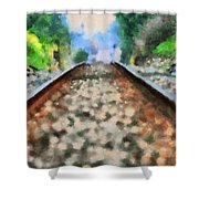 Railroad Tracks In The Summer Heat Shower Curtain