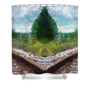 Railroad Tracks Photo Art Shower Curtain