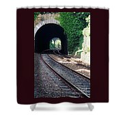 Railroad Tracks At Conway Castle, Wales  Shower Curtain